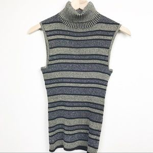 Cable & Gauge Striped Metallic Turtle Neck Gold